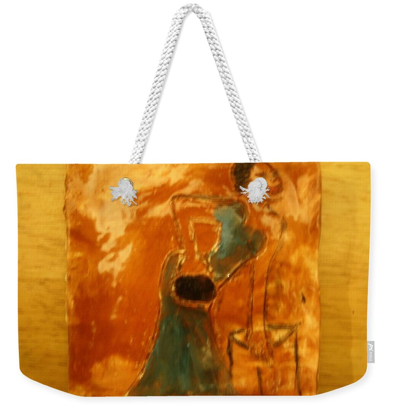 Jesus Weekender Tote Bag featuring the ceramic art One More Hour - Tile by Gloria Ssali