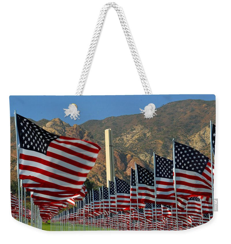 9-11 Weekender Tote Bag featuring the photograph One Nation Under God by Lynn Bauer