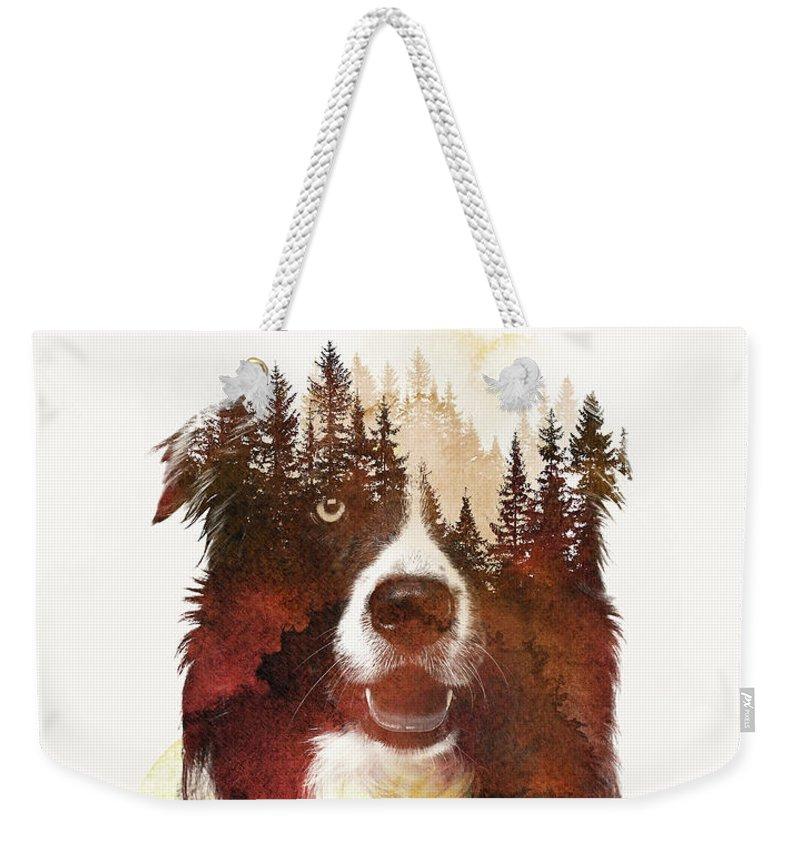 Border Collie Weekender Tote Bags