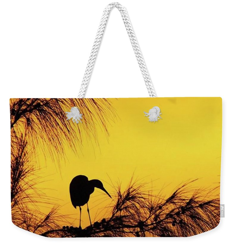 Egret Weekender Tote Bag featuring the photograph One Of A Series Taken At Mahoe Bay by John Edwards
