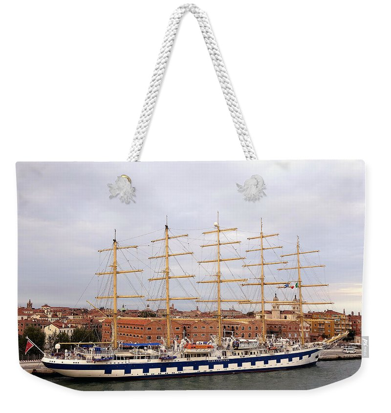 Star Clipper Cruise Line Weekender Tote Bag featuring the photograph One Of Star Clipper's Masted Cruise Liners Docked In Venice Italy by Richard Rosenshein