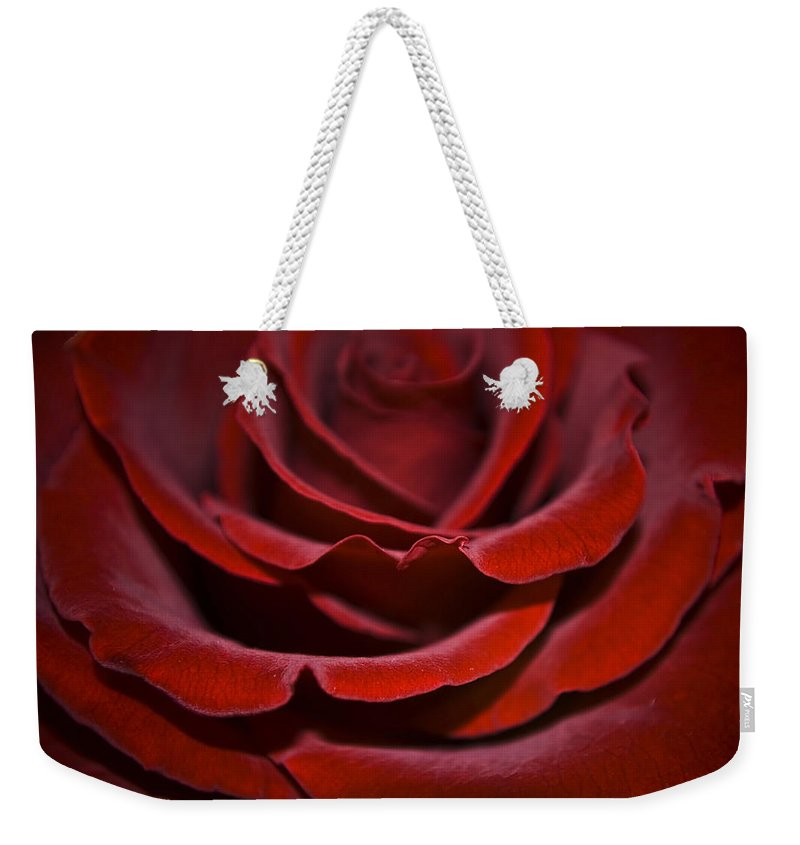 Rose Weekender Tote Bag featuring the photograph One Red Rose by Svetlana Sewell