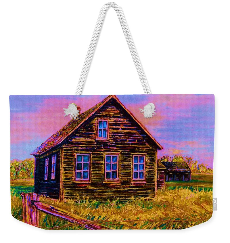 Western Art Weekender Tote Bag featuring the painting One Room Schoolhouse by Carole Spandau