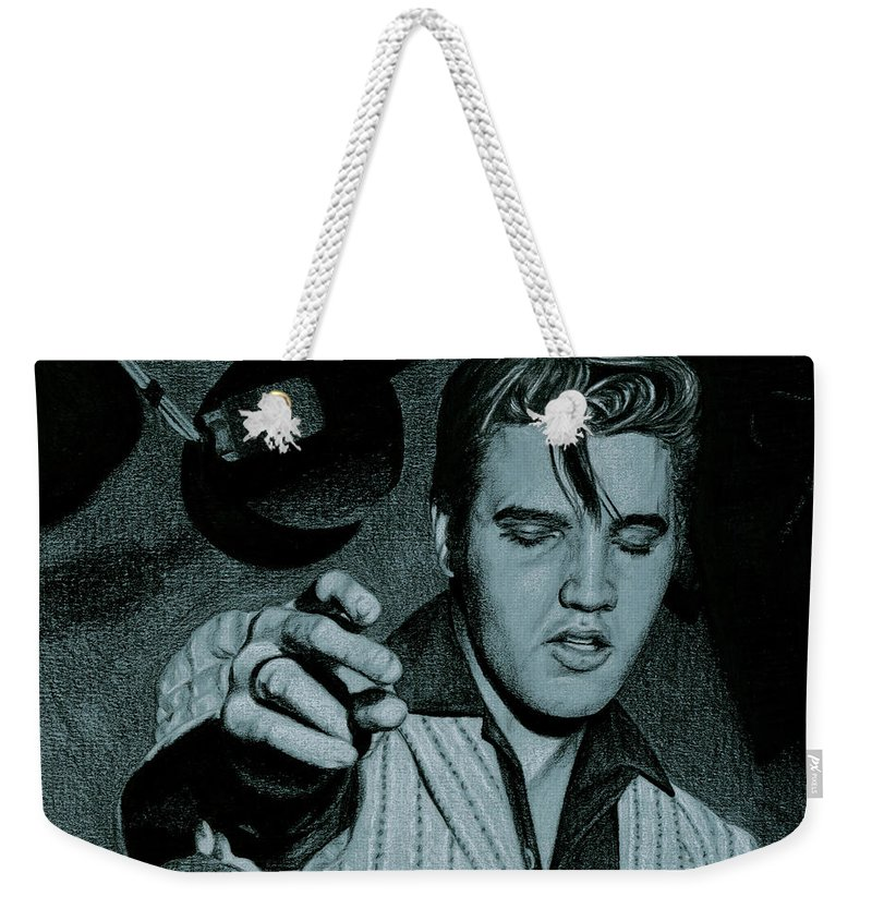 Elvis Weekender Tote Bag featuring the drawing One Sided Love Affair by Rob De Vries