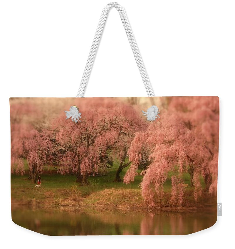 Cherry Blossom Trees Weekender Tote Bag featuring the photograph One Spring Day - Holmdel Park by Angie Tirado