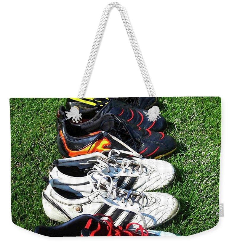 Soccer Weekender Tote Bag featuring the photograph One Team ... by Juergen Weiss