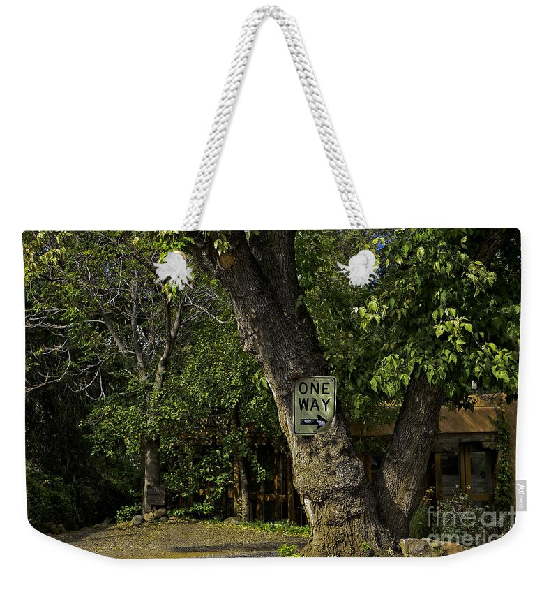 Sign Weekender Tote Bag featuring the photograph One Way by Madeline Ellis