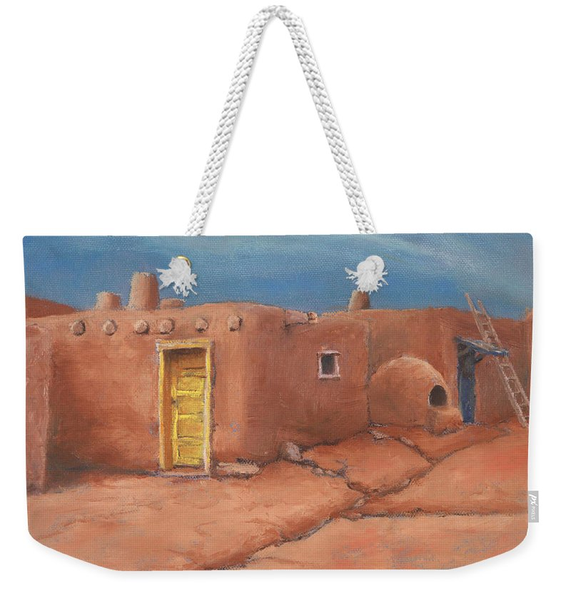 Taos Weekender Tote Bag featuring the painting One Yellow Door by Jerry McElroy