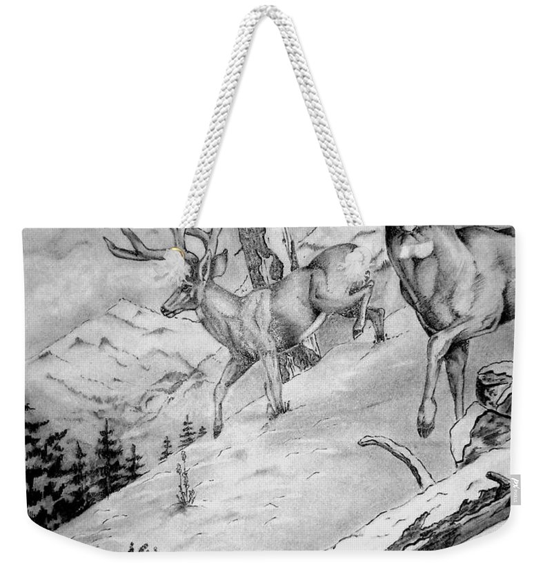 Arizona Weekender Tote Bag featuring the painting Ones That Got Away by Jimmy Smith