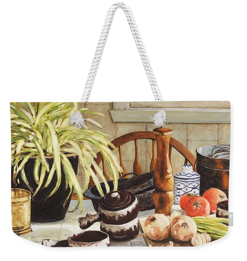 Onion Weekender Tote Bag featuring the painting Onion Soup Tonight by Richard T Pranke