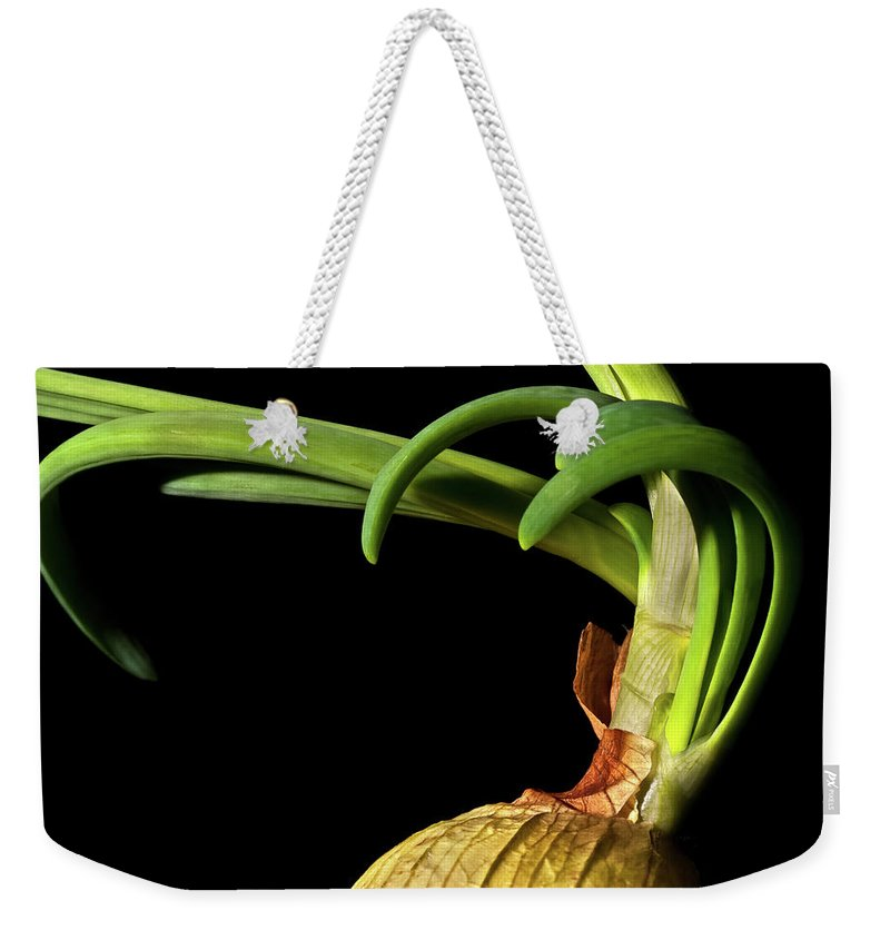 Onion Greens Weekender Tote Bag featuring the photograph Onion Sprouting by Onyonet Photo Studios