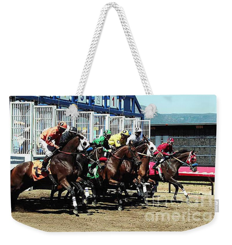 Horse Weekender Tote Bag featuring the photograph Only A Mile To Go by Kathy McClure
