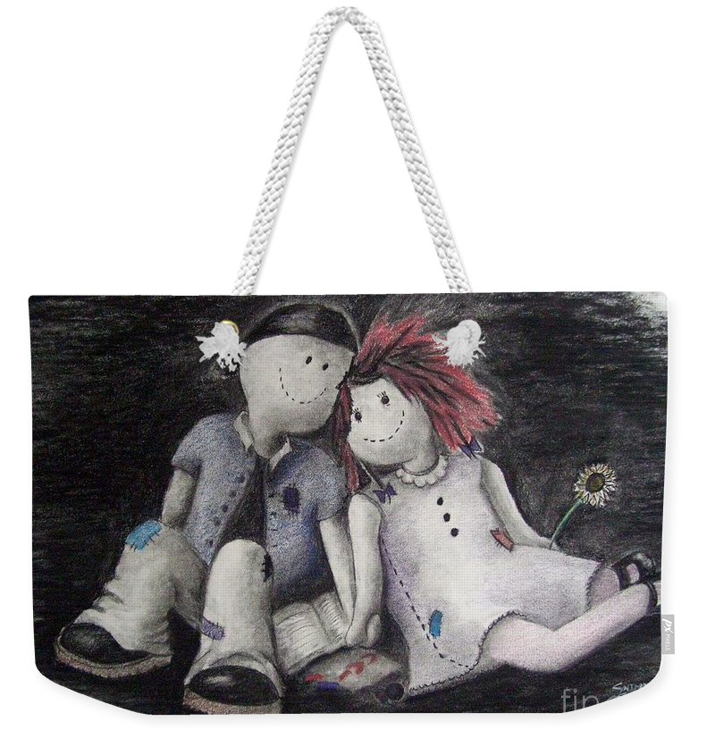 Ragdolls Weekender Tote Bag featuring the drawing Only A Moment by Cynthia Campbell