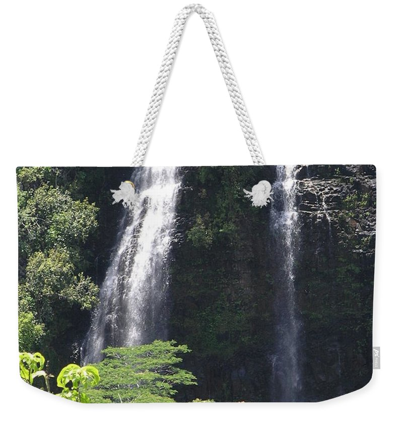 Mary Deal8waterfalls Weekender Tote Bag featuring the photograph Opaekaa Falls On Kauai Before A Storm by Mary Deal