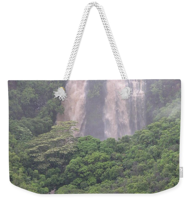Mary Deal Weekender Tote Bag featuring the photograph Opaekaa Falls On Kauai During A Storm by Mary Deal