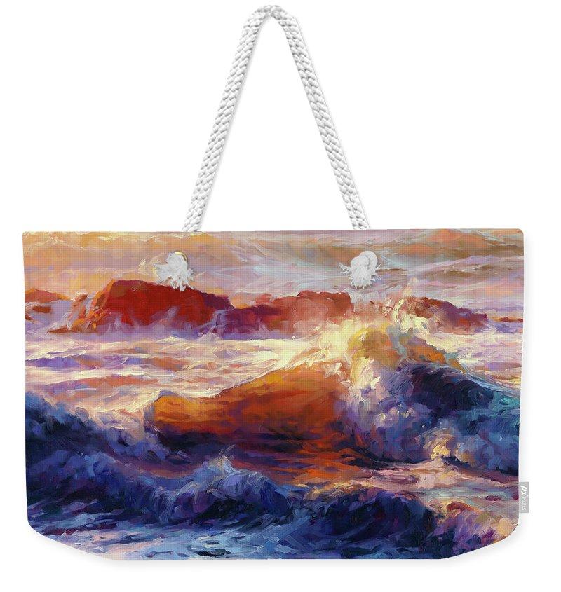 Ocean Weekender Tote Bag featuring the painting Opalescent Sea by Steve Henderson
