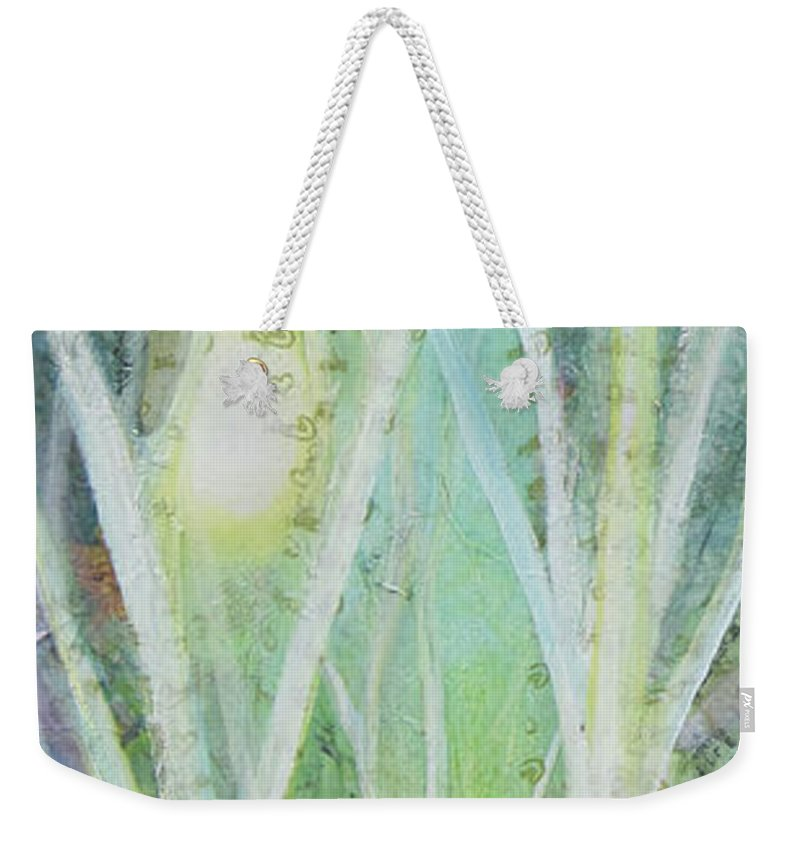 Trees Weekender Tote Bag featuring the painting Opalescent Twilight I by Shadia Derbyshire