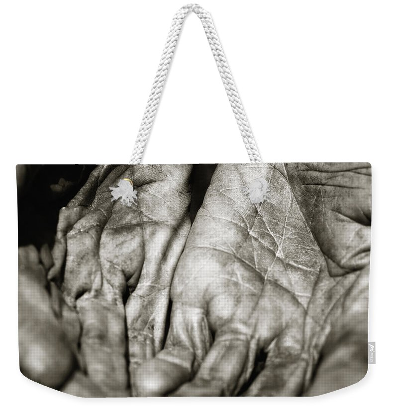Hands Weekender Tote Bag featuring the photograph Two Old Hands by Skip Nall