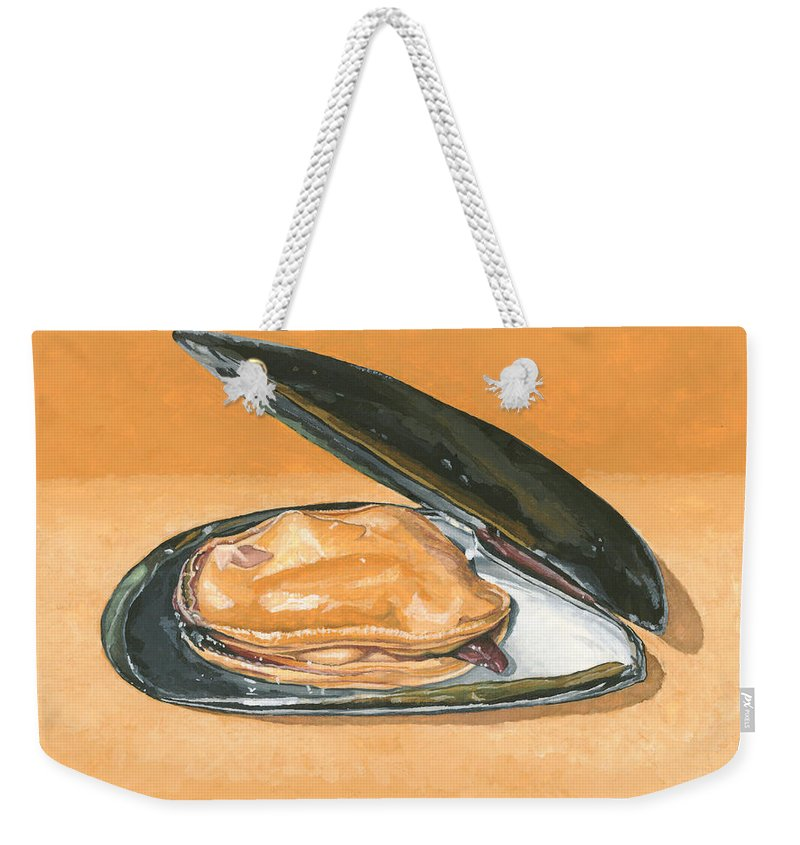 Mussel Weekender Tote Bag featuring the painting Open Mussel by Dominic White