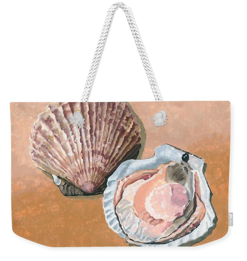 Scallop Weekender Tote Bag featuring the painting Open Scallop by Dominic White