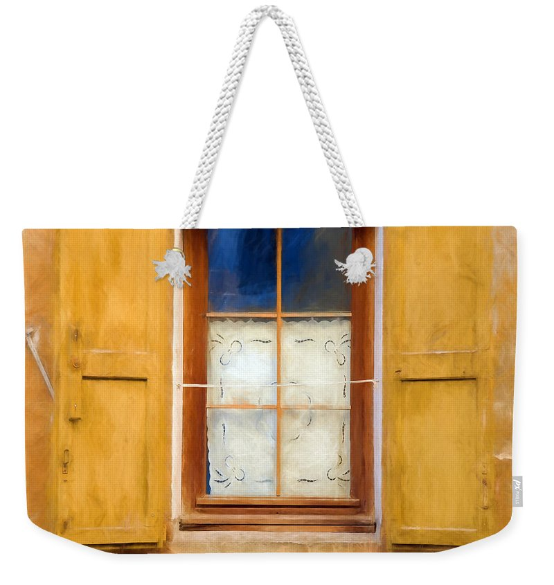 Window Weekender Tote Bag featuring the digital art Open Shutters by Ronald Bolokofsky
