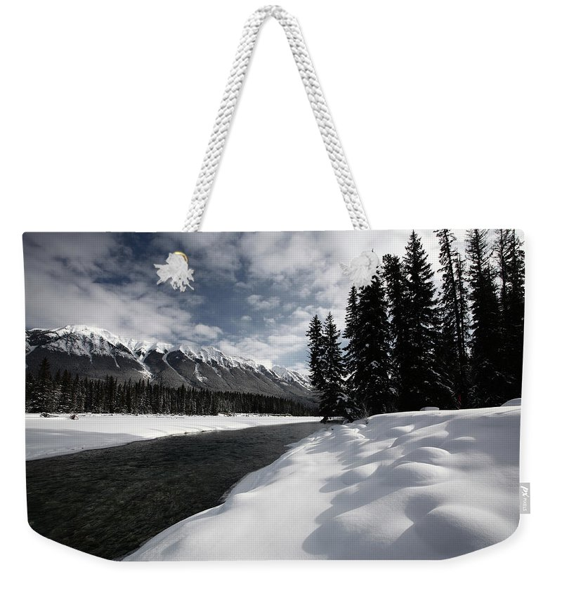 Snow Covered Weekender Tote Bag featuring the digital art Open Water In Winter by Mark Duffy