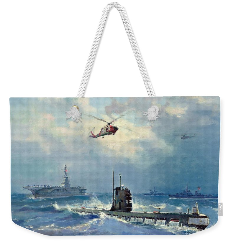 Operation Weekender Tote Bag featuring the painting Operation Kama by Valentin Alexandrovich Pechatin