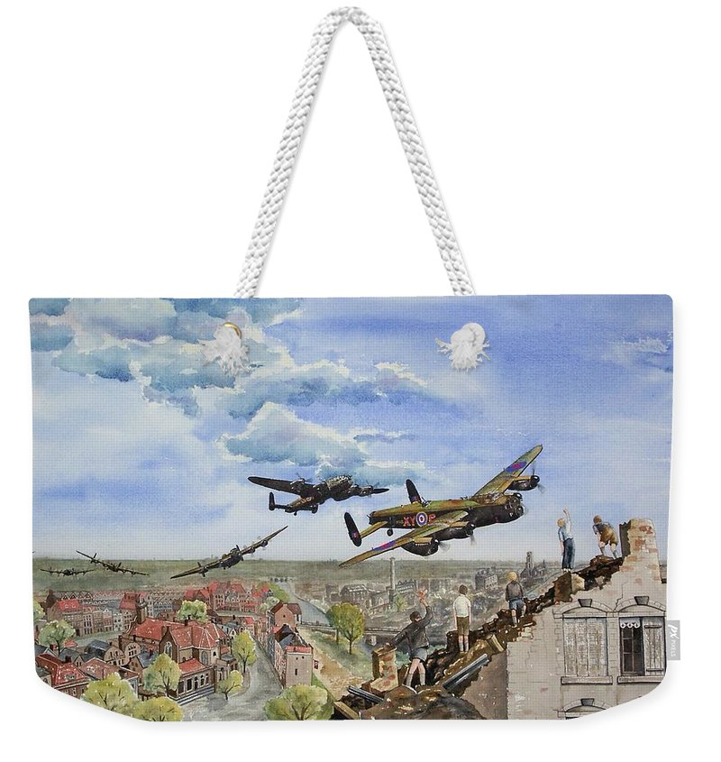 Lancaster Bomber Weekender Tote Bag featuring the painting Operation Manna I by Gale Cochran-Smith