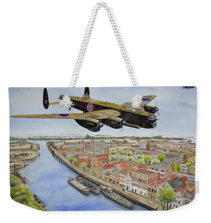 Lancaster Bomber Weekender Tote Bag featuring the painting Operation Manna II by Gale Cochran-Smith