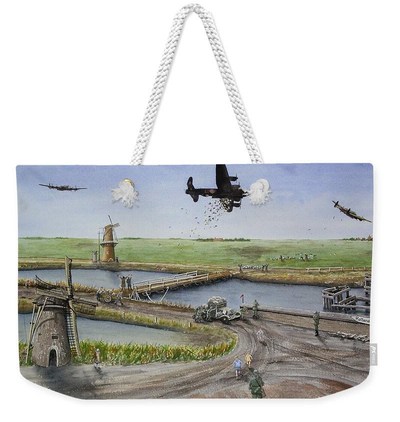 Lancaster Bomber Weekender Tote Bag featuring the painting Operation Manna IIi by Gale Cochran-Smith