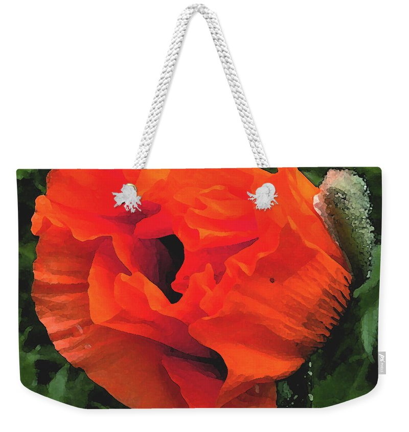 Opium Poppy Weekender Tote Bag featuring the photograph Opium by Heather Lennox