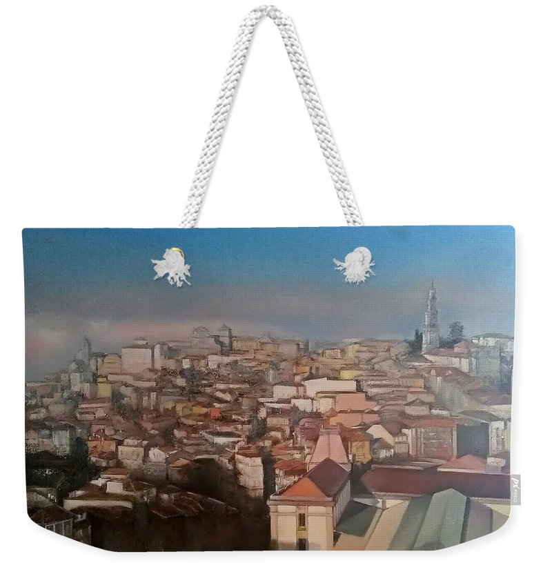 Porto Weekender Tote Bag featuring the painting Oporto Panoramic by Tomas Castano