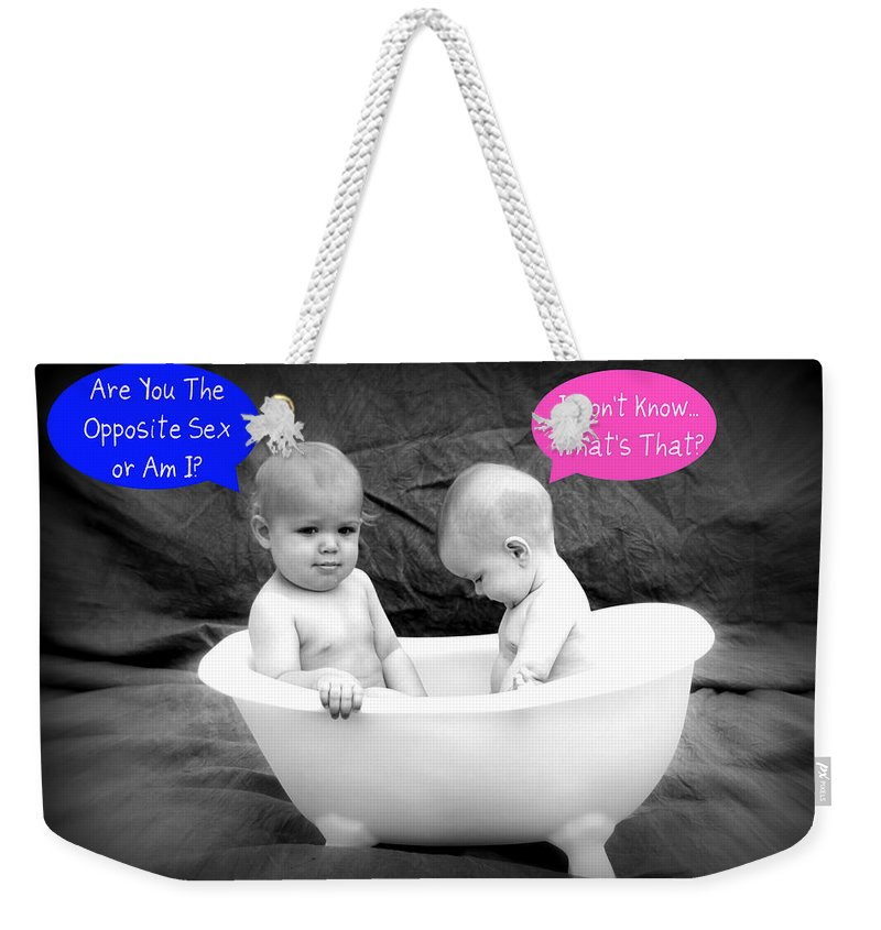 Opposite Weekender Tote Bag featuring the photograph Opposite Sex by Tina Meador