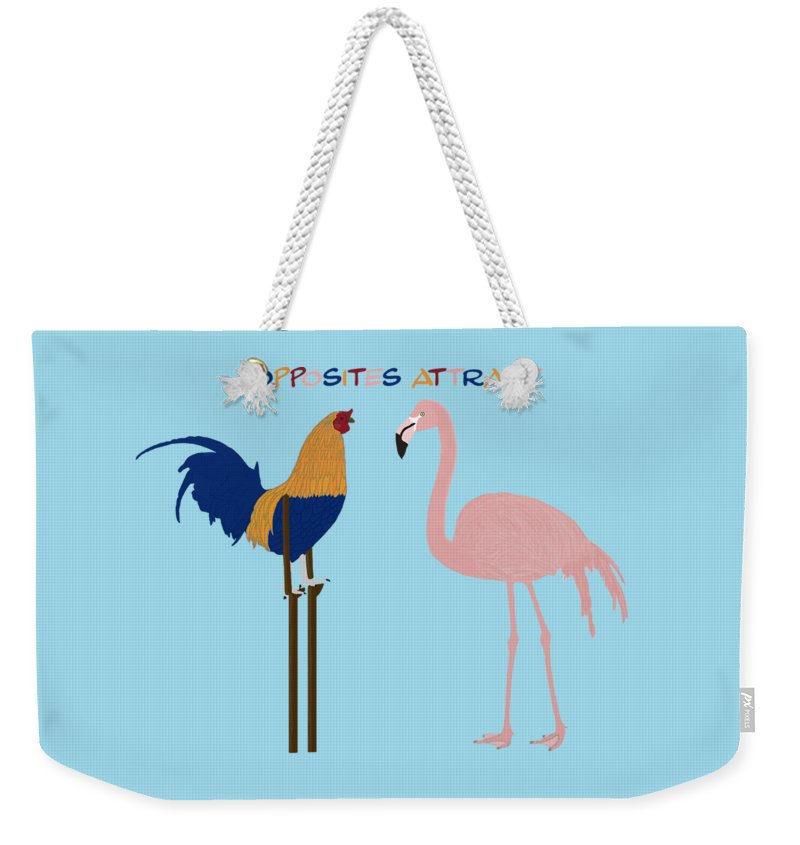 Opposites Attract Weekender Tote Bag featuring the digital art Opposites Attract by Priscilla Wolfe