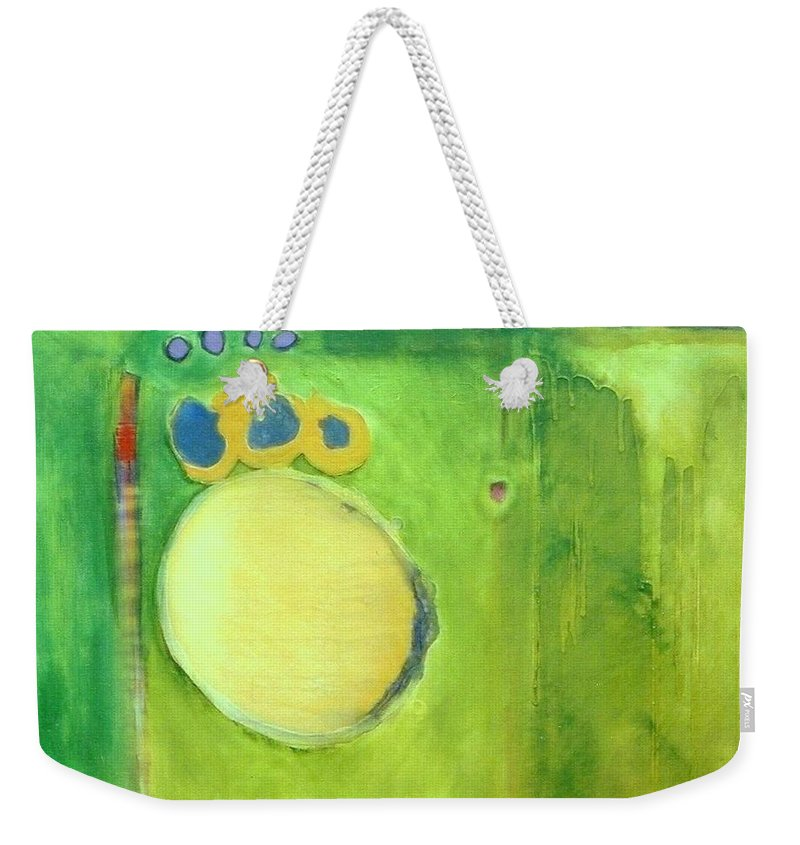 Abstract Weekender Tote Bag featuring the painting Optic Nerve by Marlene Burns