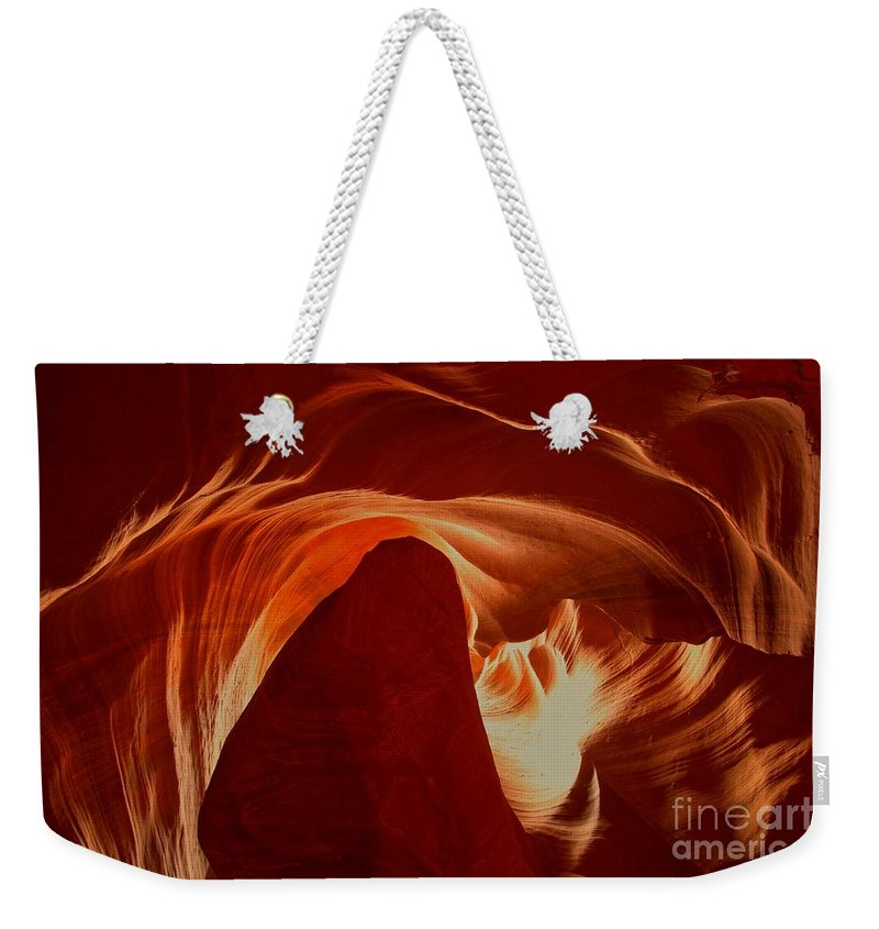 Upper Antelop Weekender Tote Bag featuring the photograph Orange Abstract At Upper Antelope by Adam Jewell