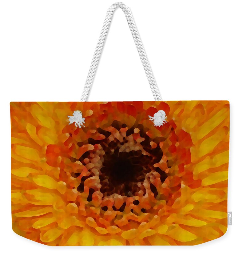 Daisy Weekender Tote Bag featuring the painting Orange And Black Gerber Center by Amy Vangsgard