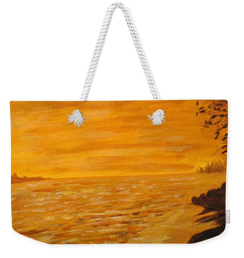 Ocean Weekender Tote Bag featuring the painting Orange Beach by Ian MacDonald