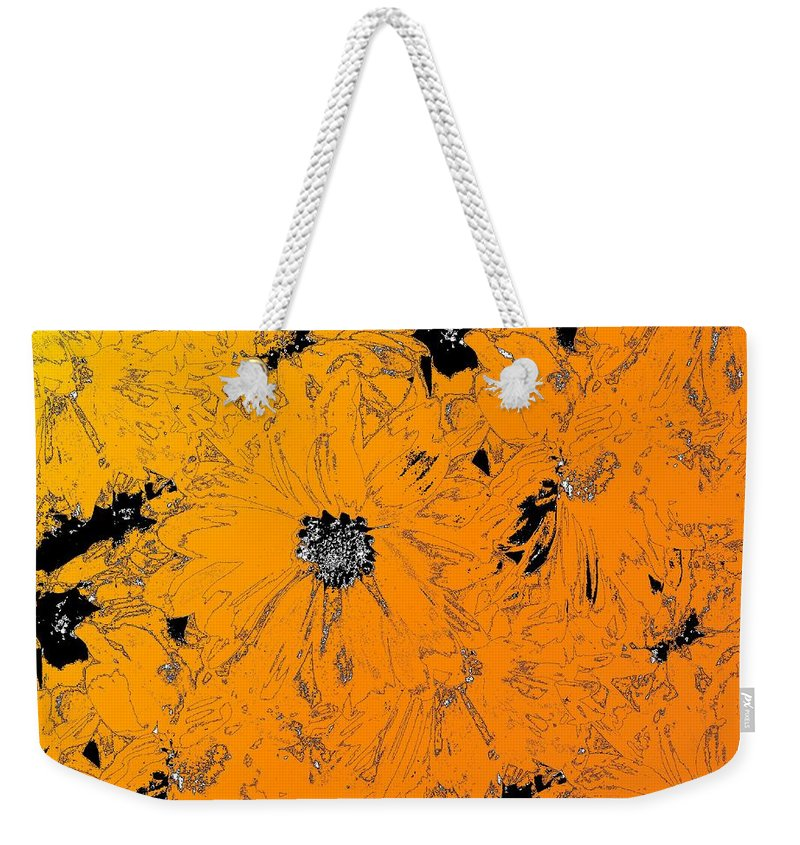 Orange Weekender Tote Bag featuring the digital art Orange Blast by Tim Allen