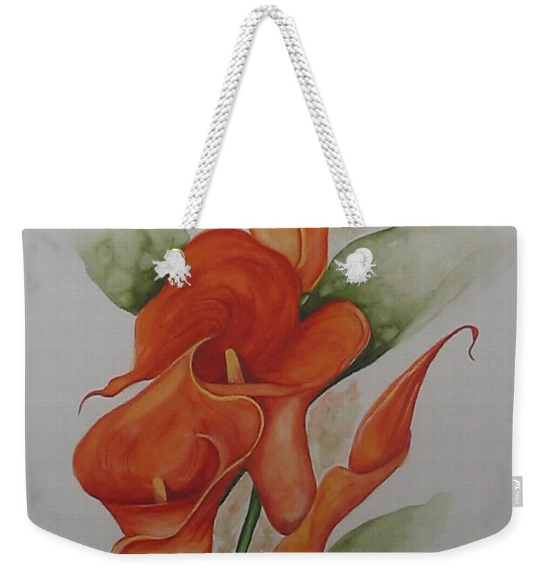 Floral Orange Lily Weekender Tote Bag featuring the painting Orange Callas by Karin Dawn Kelshall- Best