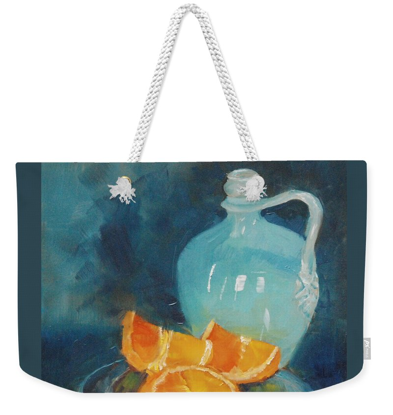 Arts Weekender Tote Bag featuring the painting Orange Complement by Mary Benke