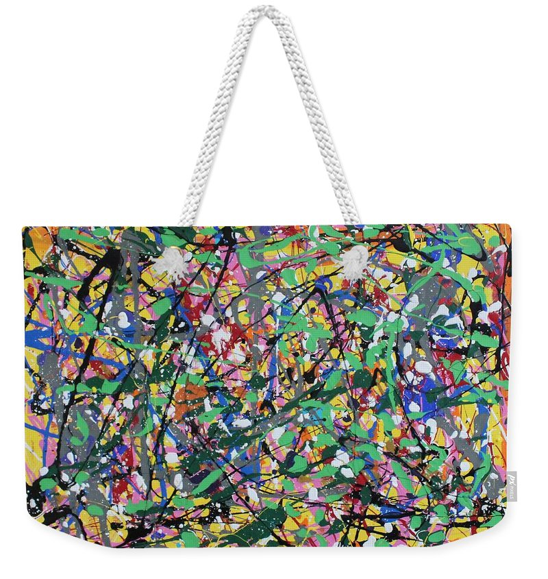 Colorful Weekender Tote Bag featuring the painting Orange Delight by Pam Roth O'Mara