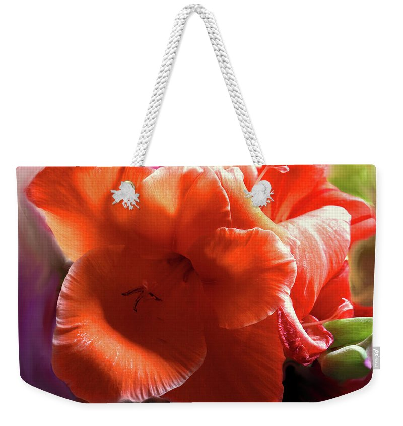 Flower Weekender Tote Bag featuring the photograph Orange Flower by Ian MacDonald