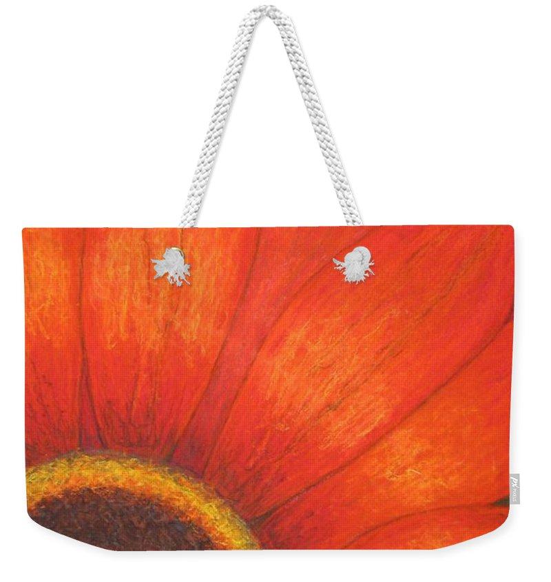 Nature Weekender Tote Bag featuring the pastel Orange Flower by Stella Velka
