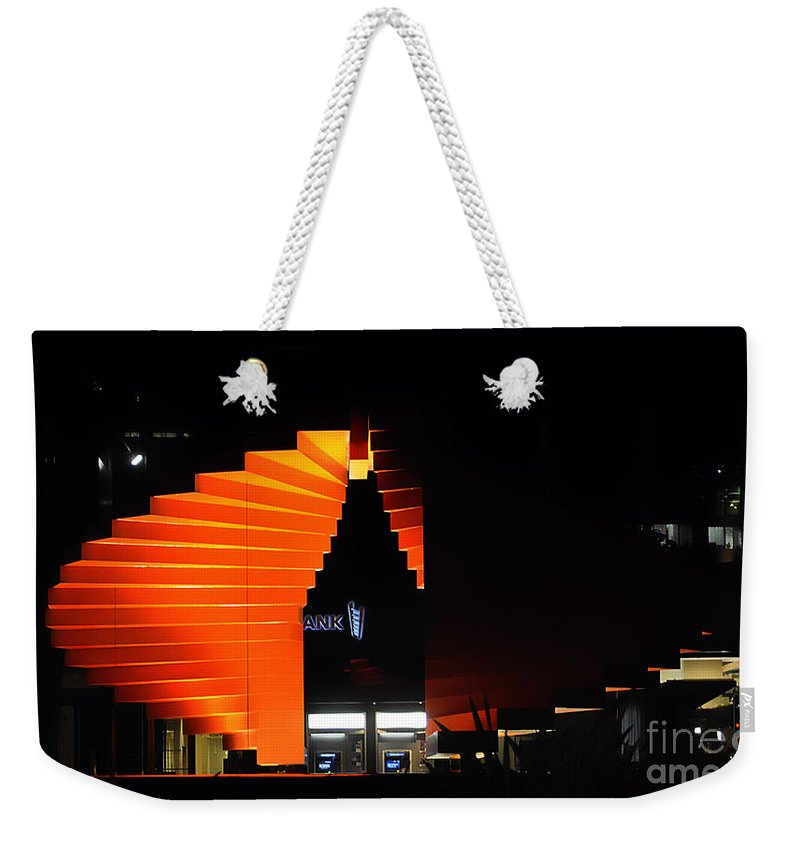 Clay Weekender Tote Bag featuring the photograph Orange Fountain Downtown Los Angeles by Clayton Bruster