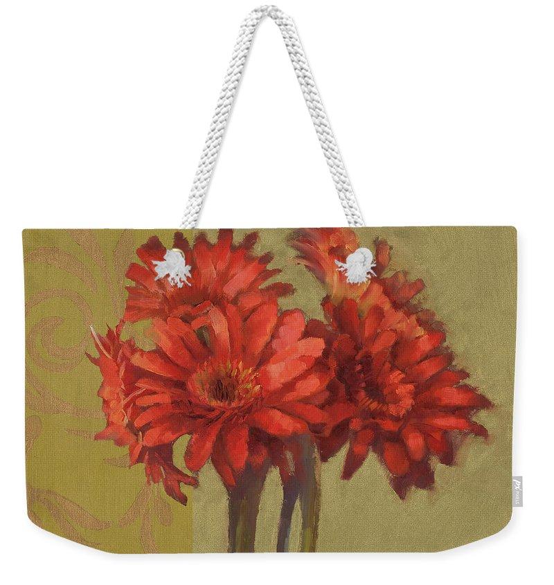 Floral Weekender Tote Bag featuring the painting Orange Gerbers by Cathy Locke
