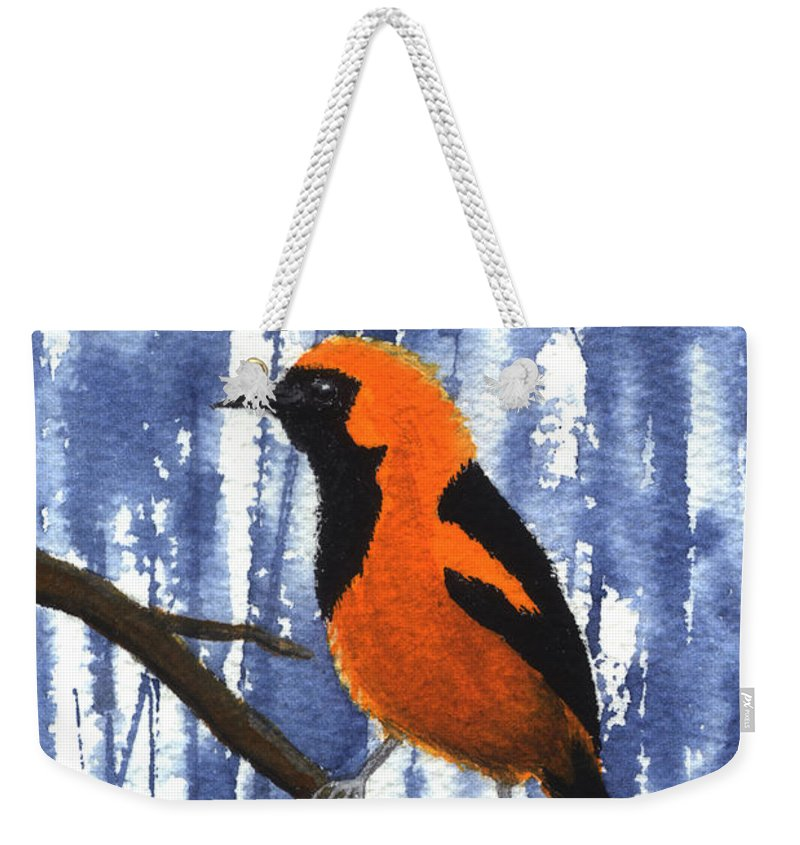 Bird Weekender Tote Bag featuring the painting Orange-headed Oriole by Lynn Quinn