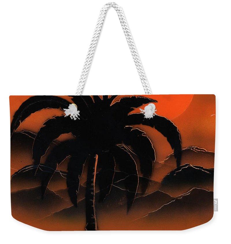 Oasis Weekender Tote Bag featuring the painting Orange Oasis by Jason Girard