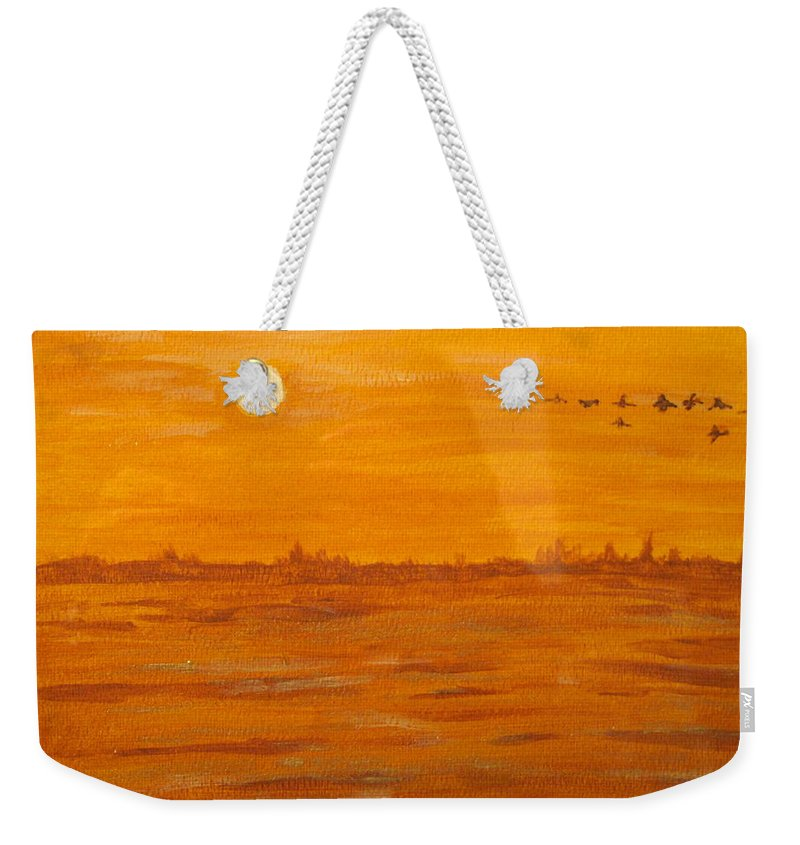 Orange Weekender Tote Bag featuring the painting Orange Ocean by Ian MacDonald
