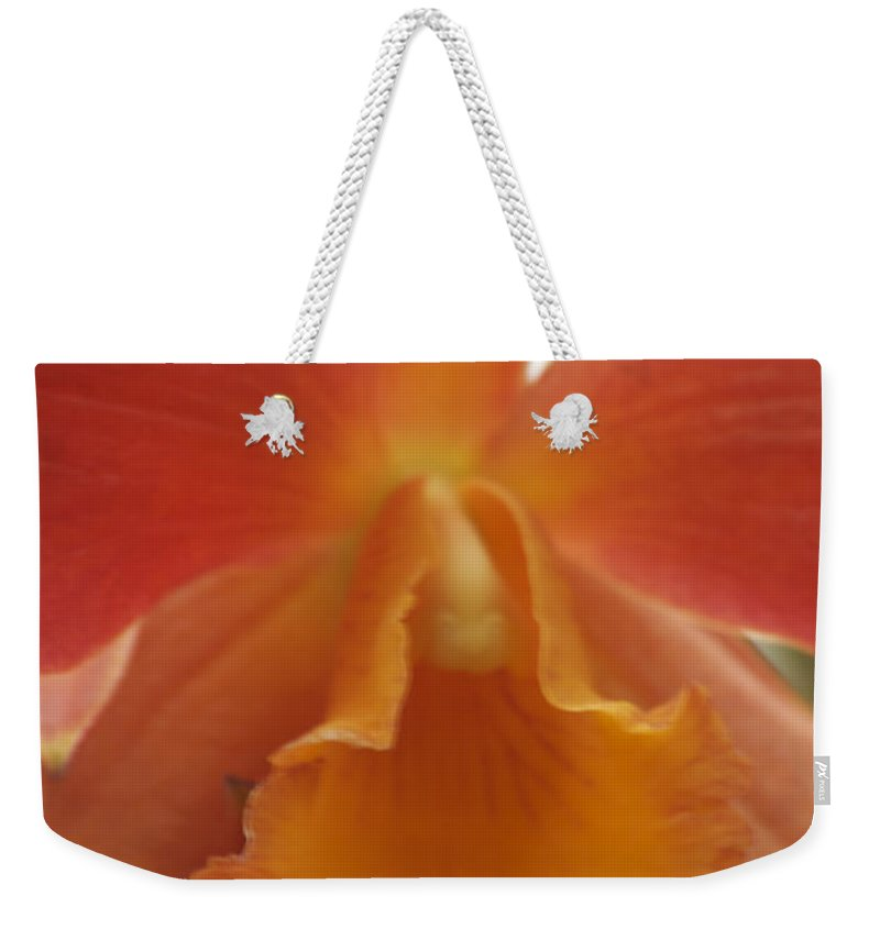 Orange Weekender Tote Bag featuring the photograph Orange Orchid 2 by Michael Peychich